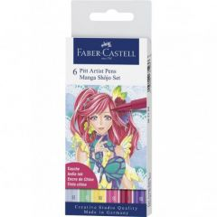 Liner, 6culori/set, varf pensula, Shojo, Pitt Artist Pen Manga, Faber Castell-FC167155
