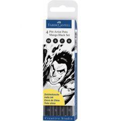 Liner, 4buc/set, negru, varf pensula, Pitt Artist Pen Manga, Faber Castell-FC167132