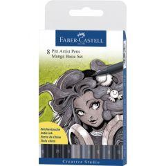 Liner, 8buc/set, gri si negru, varf pensula, Basic, Pitt Artist Pen Manga, Faber Castell-FC167107