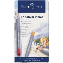 Creioane colorate acuarela, in cutie metal, 12culori/set, Goldfaber Aqua, Faber Castell-FC114612