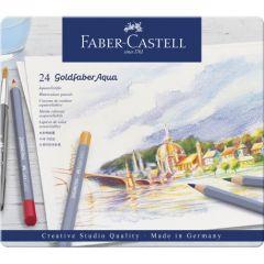 Creioane colorate acuarela, in cutie metal, 24culori/set, Goldfaber Aqua, Faber Castell-FC114624
