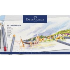 Creioane colorate acuarela, in cutie metal, 36culori/set, Goldfaber Aqua, Faber Castell-FC114636