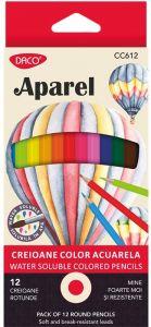 Creioane colorate acuarela, 12culori/set, Aparel Daco