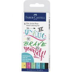 Permanent marker pentru caligrafie, 6culori/set, pastel, Pitt Artist Pen, Faber Castell