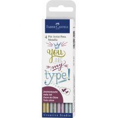 Permanent marker pentru caligrafie, 4culori/set, culori metalizate, Pitt Artist Pen, Faber Castell