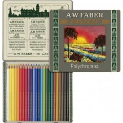 Creioane colorate, in cutie metal, 24culori/set, Polychromos, Faber Castell