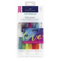 Pastel solubil, 12culori/set, culori irizatii, Gelatos, Faber Castell