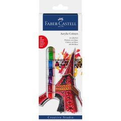 Culori acril, tub 12ml, 12culori/set, Creative Studio, Faber Castell-FC169501
