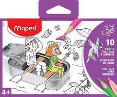 Carti postale de colorat, diverse modele, 10 buc/set, Maped