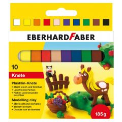 Plastilina in cutie, 10 culori/set, 185g, 572011 Eberhard Faber