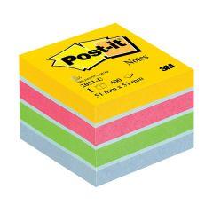 Notes autoadeziv cub 51mm x 51mm, 400 file/set, galben/roz/verde/albastru, Post-it 3M