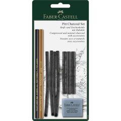 Creioane, carbune si radiera pentru desen si schite, 10piese/set, Pitt, Faber Castell-FC112996