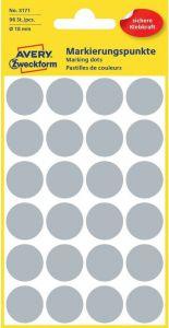 Etichete autoadezive rotunde, diam.18mm, 96buc/set, gri, Avery Zweckform