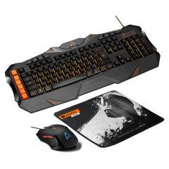 Kit tastatura cu fir, mouse cu fir si pad mouse, CND-SGS01-US, Gaming Leonof Canyon