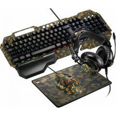 Kit tastatura cu fir, mouse cu fir, casti si pad mouse, CND-SGS03M-US, Gaming Argama Canyon