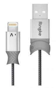 Cablu de date USB / Lightning, 0,2m, gri, Smart Fish Ringke