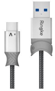 Cablu de date USB / USB-C, 0,2m, gri, Smart Fish Ringke