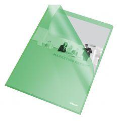 Mapa de protectie A4 cu deschidere in L, cristal, verde, 105mic, 25/set, Esselte