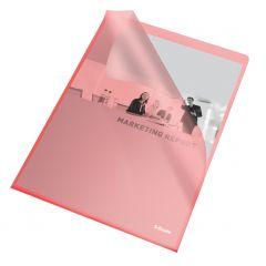 Mapa de protectie A4 cu deschidere in L, cristal, rosu, 105mic, 25/set, Esselte
