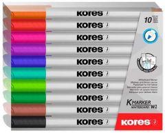 Whiteboard marker 10 buc/set, varf 1,0 mm, Slim Kores