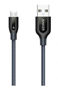 Cablu de date USB / microUSB, 0,91m, gri, PowerLine+ Nylon Anker
