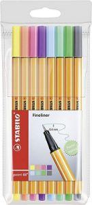 Liner 8 culori/set, varf 0,4mm, culori pastel, Point 88 Stabilo