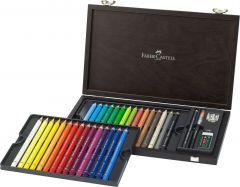 Creioane colorate acuarela, in cutie lemn, 30culori/set + accesorii, Magnus, A.Durer, Faber Castell-