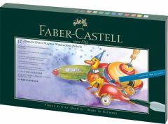 Creioane colorate acuarela, in cutie cadou, 12culori/set + accesorii, Magnus, A.Durer, Faber Castell
