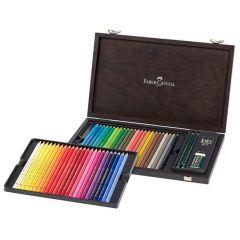Creioane colorate 48culori/set, cutie lemn, Polychromos Faber Castell-FC110006
