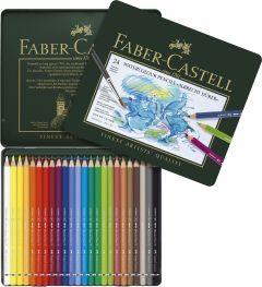 Creioane colorate acuarela, in cutie metal, 24culori/set, A.Durer, Faber Castell-FC117524