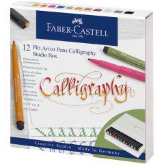 Set caligrafic, 12culori/set, Pitt Artist Pen Caligrafic Studio Faber Castell
