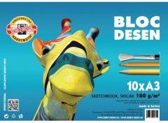 Bloc desen A3, 10file, 180g/mp Girafa Koh-I-Noor