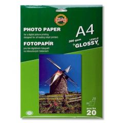 Hartie photo ink jet, glossy, A4, 200g, 20 coli/top, Koh-I-Nor