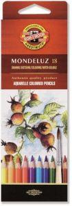 Creioane colorate acuarela, 18culori/set, fructe, Mondeluz Aquarell, Koh-I-Noor