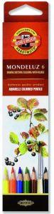 Creioane colorate acuarela, 6culori/set, fructe, Mondeluz Aquarell, Koh-I-Noor