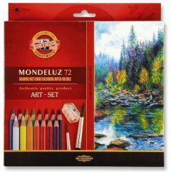 Creioane colorate acuarela, 72culori/set + ascutitoare + 2pensule, Mondeluz Aquarell, Koh-I-Noor