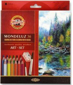 Creioane colorate acuarela, 48culori/set + ascutitoare + 2pensule, Mondeluz Aquarell, Koh-I-Noor