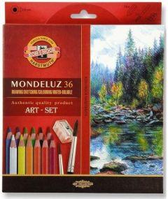 Creioane colorate acuarela, 36culori/set + ascutitoare + 2pensule, Mondeluz Aquarell, Koh-I-Noor