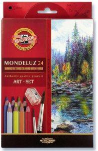 Creioane colorate acuarela, 24culori/set + ascutitoare + 2pensule, Mondeluz Aquarell, Koh-I-Noor