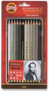 Creioane colorate acuarela, 12culori/set, nuante gri, cutie metal, Mondeluz Aquarell, Koh-I-Noor