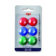 Magneti, 25mm, culori asortate, 6buc/set, Koh-I-Noor