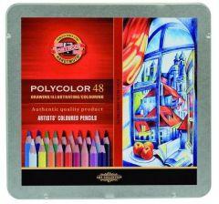 Creioane colorate 48culori/set, cutie metal, Polycolor Koh-I-Noor