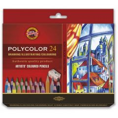 Creioane colorate 24culori/set + ascutitoare + 2 creioane, Polycolor Koh-I-Noor