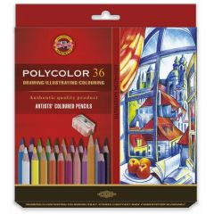 Creioane colorate 36culori/set + ascutitoare + 2 creioane, Polycolor Koh-I-Noor