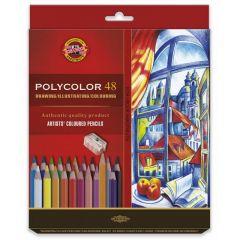Creioane colorate 48culori/set + ascutitoare + 2 creioane, Polycolor Koh-I-Noor