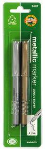 Permanent marker argintiu/auriu, varf 2,0 mm, 2buc/set, 3402 Koh-I-Noor