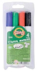 Permanent marker pentru textile 4buc/set (albastru, negru, rosu, verde), varf 2,5 mm, 3205 Koh-I-Noo