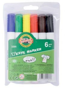 Permanent marker pentru textile 6buc/set (albastru, negru, rosu, galben, maro,verde), varf 2,5 mm, 3