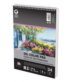 Bloc desen cu spira A3 pentru culori ulei, 24file, 190g/mp, Art Pigna