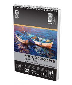 Bloc desen cu spira A3 pentru culori acril, 24file, 190g/mp, Art Pigna